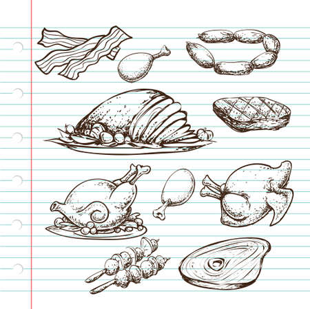 meats: Doodle illustration of protein source, cooked and uncooked, meats of cow, chicken and bacon
