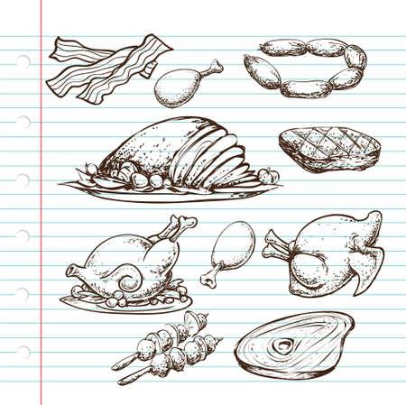 dibujos lineales: Ilustración Doodle de fuente de proteína, cocidos y crudos, carnes de vaca, pollo y bacon