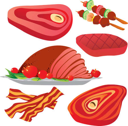bacon art: Vector illustration of raw and cooked meats isolated on white