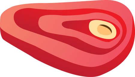 rindfleisch roh: Vektor-Illustration von rohen Steak isoliert auf wei� Illustration