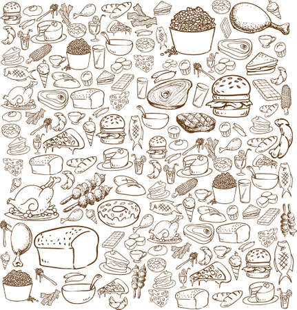Vector illustration of food in doodle style, brown on white