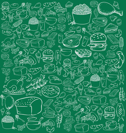 Vector illustration of food in doodle style, white on green Vector