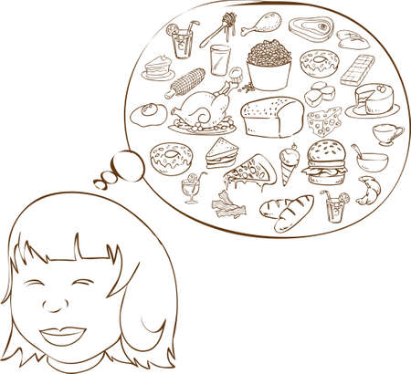 Vector illustration of a fat girl dreaming for food in doodle style Vector