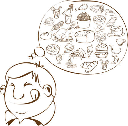 Vector illustration of a fat man dreaming for food in doodle style Vector