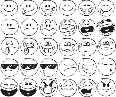 anger kid: Set di sorrisi di doodle su sfondo bianco Vettoriali
