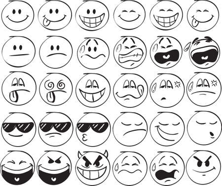 Set of doodle Smiles on white background Çizim