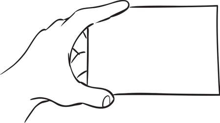 Vector illustration of a hand holding a blank card, simple doodle sketch Illustration
