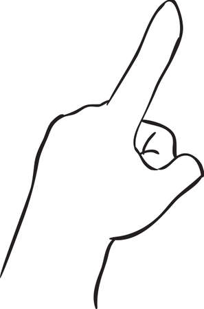 finger pointing up: Vector illustration of a hand with index finger pointing up, simple doodle sketch