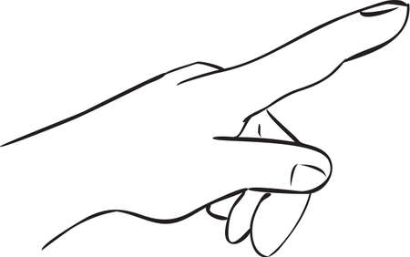 finger index: Vector illustration of a hand with index finger pointing forward, simple doodle sketch