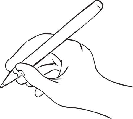 hand holding pen: Vector illustration of a hand holding pen in writing position, simple doodle sketch Illustration