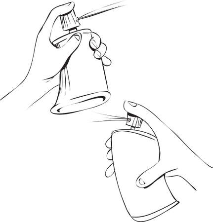squeezed: Vector illustration of hand holding spray can in doodle style