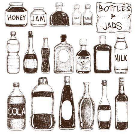 veneno frasco: Ilustraci�n vectorial de botellas y tarros en el estilo de dibujo
