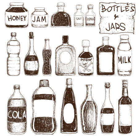 Vector illustration of bottles and jars in doodle style