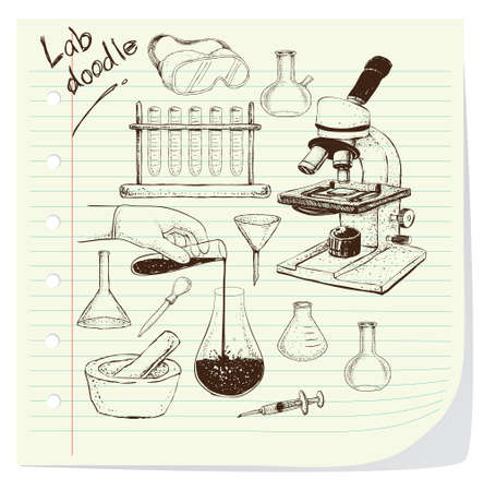 safety goggles: Vector illustration of laboratory equipment doodle on striped paper Illustration