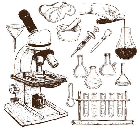 pathology: Vector illustration of laboratory equipment doodle on white background