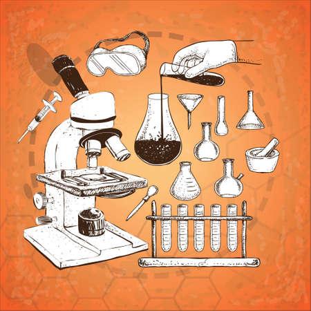 Vector illustration of laboratory equipment doodle on grunge orange background illustration