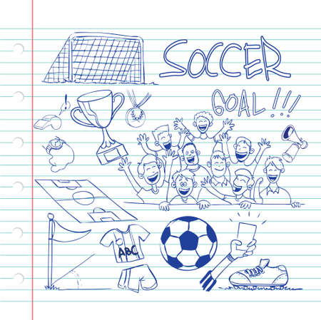 supporters: Vector illustration of soccer theme in doodle style