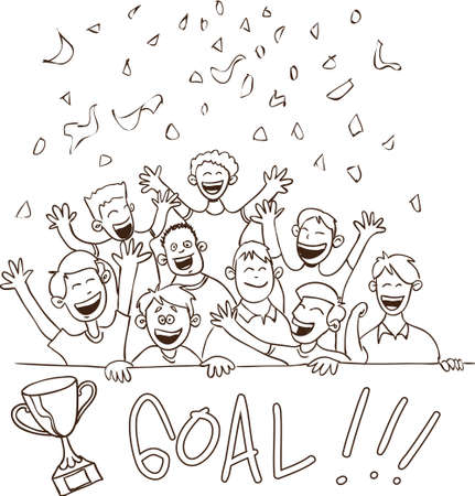 cheering crowd: Vector illustration of happy football supporters in doodle style