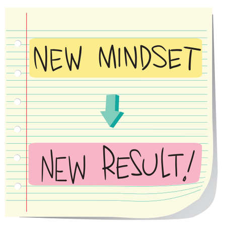 new solution: Vector illustration of Self Development Concept, New Mindset to New Result written on striped paper