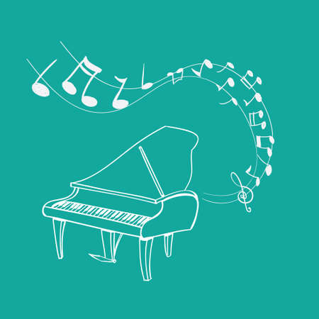 illustration of Piano Melody background, simple white on green