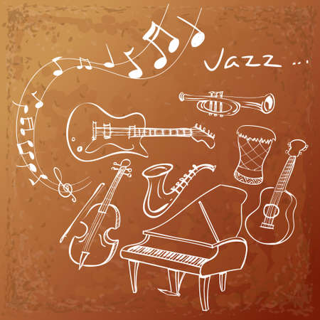 scores: illustration of Jazz instrument background, simple white on grunged brown Illustration