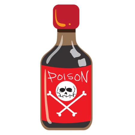 poison bottle: illustrazione di bottiglia di veleno isolato su bianco Vettoriali