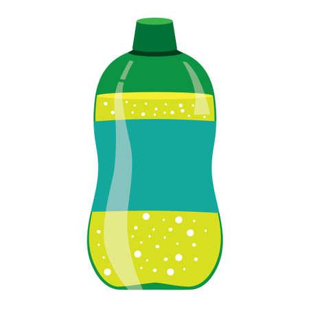 carbonated beverage: illustration of green lemonade bottle isolated on white