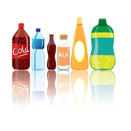 illustration of drink bottles with reflection isolated on white Ilustração