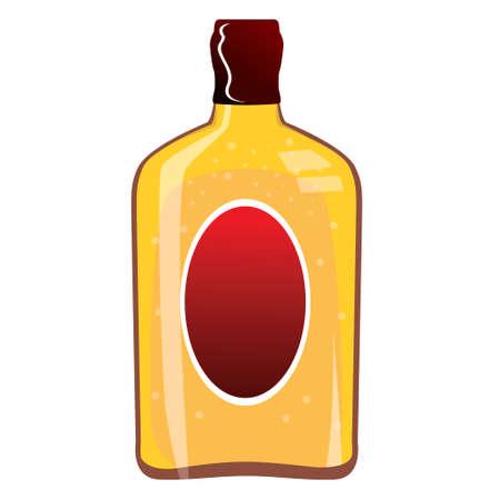 unlabeled: illustration of whiskey bottle isolated on white