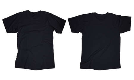 Wrinkled blank black t-shirt template, front and back design isolated on white Imagens