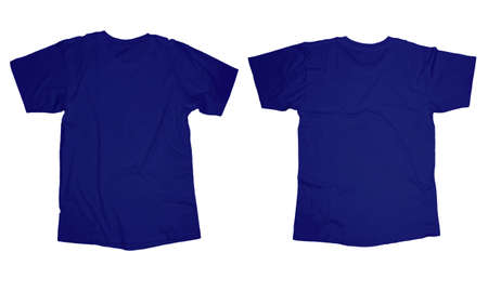 Wrinkled blank blue t-shirt template, front and back design isolated on white