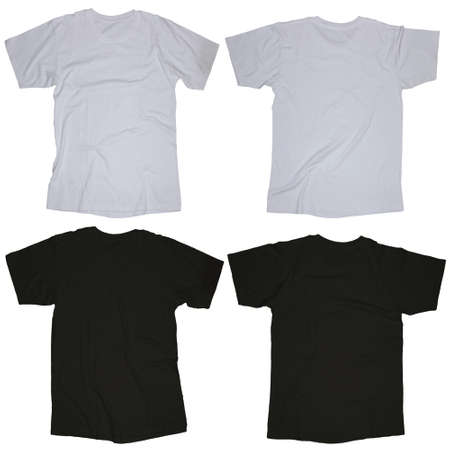 Wrinkled Blank Black And White Blank T-shirt Template, Front.. Stock ...