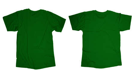 long sleeve: Wrinkled blank green t-shirt template, front and back design isolated on white Stock Photo