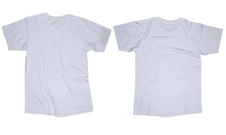 Wrinkled blank white t-shirt template, front and back design isolated on white 版權商用圖片