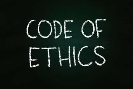 etica: Código de Ética de la ilustración de escritura de la tiza en la pizarra Foto de archivo
