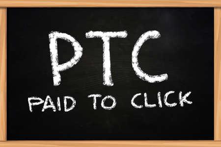 paid: PTC Paid to Click illustration of chalk writing on blackboard Stock Photo