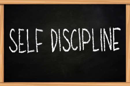 disciplined: Self discipline illustration of chalk writing on blackboard Stock Photo