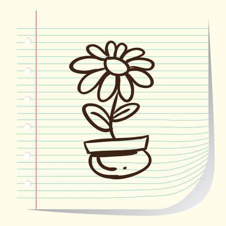 Vector illustration of a flower in doodle style Vector