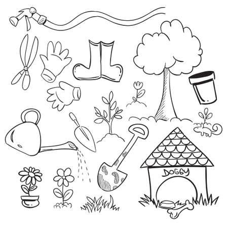 garden tool: Vector illustration of gardening in doodle style