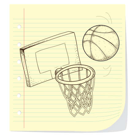 international basketball: Vector illustration of basketball game theme in doodle style
