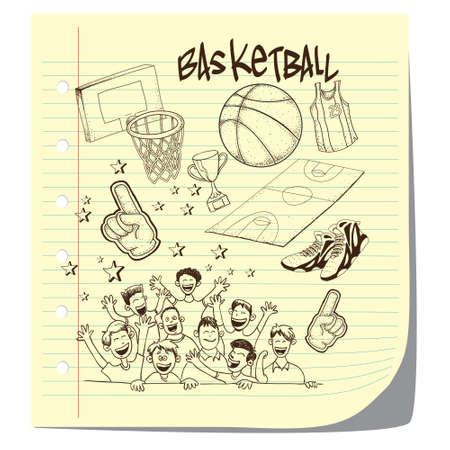 international basketball: Vector illustration of basketball competition theme in doodle style Illustration