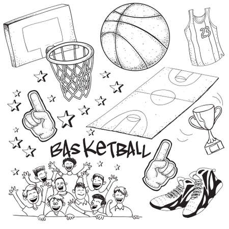 ring finger: Vector illustration of basketball competition theme in doodle style Illustration