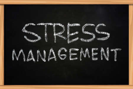 stress management: Stress Management illustration of chalk writing on blackboard