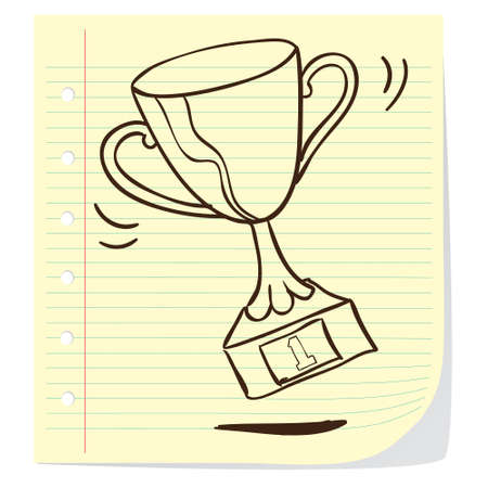 Vector illustration of a trophy in doodle style Vector