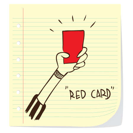 Vector illustration of red card given by soccer referee in doodle style