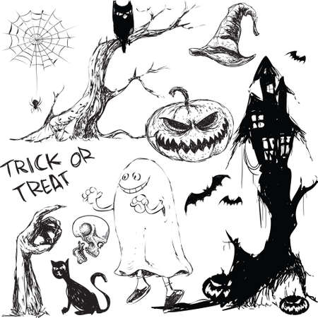 Halloween theme illustration in doodle style Vector