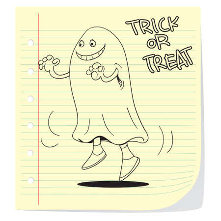 cute ghost: Halloween theme illustration of cute ghost in doodle style