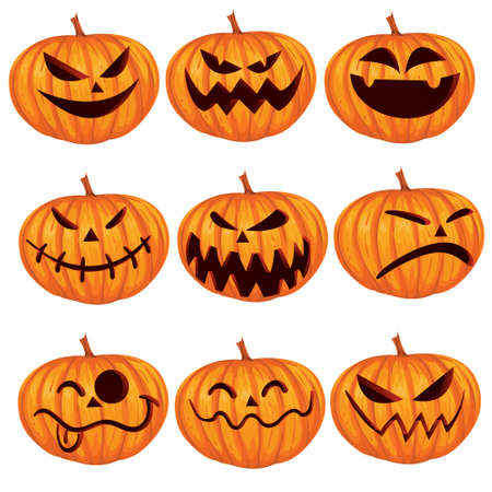 calabaza caricatura: Ilustraci�n vectorial de Halloween Jack calabaza o set Linterna