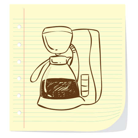 coffee blender: Vector illustration of coffee machine in doodle style