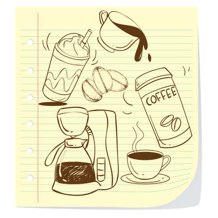 Vector illustration of coffee cups in doodle style Vector